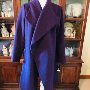 Alfani Dark Fig Drape Front Coat